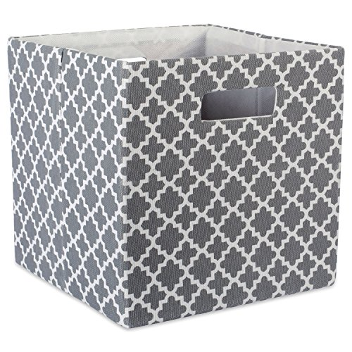 DII Hard Sided Collapsible Fabric Storage Container for Nursery, Offices, & Home Organization, (13x13x13) - Lattice Gray