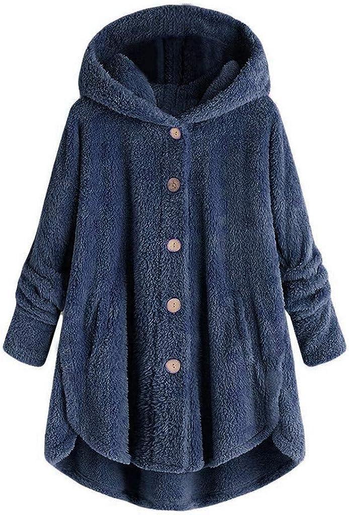 Women's Plus Size Hoodies Solid Long Sleeve Button Fleece Sweatshirt Loose Cardigan Coat Wool Coat Oversize Pullover
