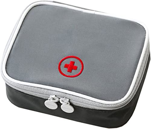 Portable Mini First Aid Pouch Home Emergency Kit Medicine Storage Bag for Outdoor Activities Travel Camping Hiking Empty Bag Only Charcoal