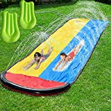 Lawn Water Slip and Slide, Water Slide for Kids Backyard, Water Slide with Splash Sprinkler and 15.7FT Inflatable Crash Pads, for Kids, Swimming Pools, Outdoor Water Toys