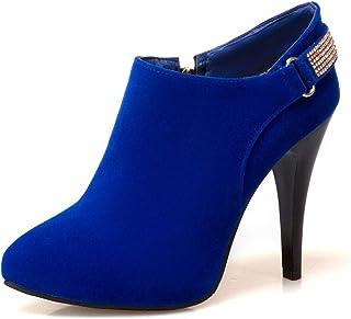 Enkellaarzen Dames, Dames Suède Korte Laarzen Met Rits Aan De Zijkant, Naaldhak Hoge Hakken Damesschoenen Grote Maat,Blue,32