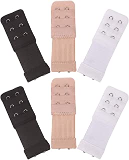 Akstore 6 Pieces Women's Soft Comfortable Elastic Bra Extenders Bra Extension Strap 2 Hook 3 Row Lady's Bra Extender Bra Band (Multicolors)