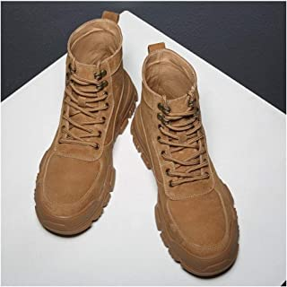 SHENTIANWEI Ankle Boots for Men Work Shoes Round Toe Lace Up Genuine Leather Short Tube Solid Colour Stitch Combat Boot Non-Slip (Color : Brown, Size : 8 UK)