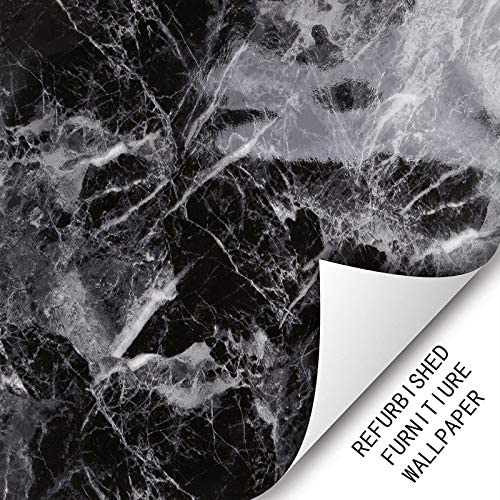practicalWs Max 85% OFF Black Gray Marble Look gift Counte Vinyl Adhesive Kitchen
