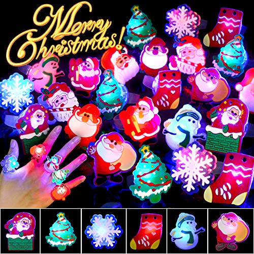 BUDI 25Pcs Christmas Party Favors LED Finger Lights for Kid & Adults Light Up Rings Stocking Stuffers Light Up Toys Rings Party Decorations Assorted Styles with Gift Package