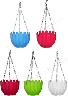 Go Hooked Plastic Round Fence Hanging Pot, Multicolour, 8.5 x 6 inch, 5 Pieces