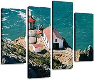 Canvas Wall Art Painting Pictures Point Reyes Seashore Lighthouse Modern Artwork Framed Posters for Living Room Ready to Hang Home Decor 4PANEL