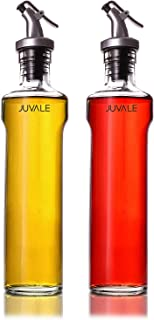 Juvale Oil and Vinegar Dispensers 2-Piece Set Glass Cruet Bottles with Lever Release Pourers for Salad Dressing, and Olive Oil, 12 Oz / 355mL