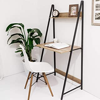 C-Hopetree Ladder Desk Student Computer Laptop Desk Office Table, Industrial Wood Look, Rustic Black Metal Frame