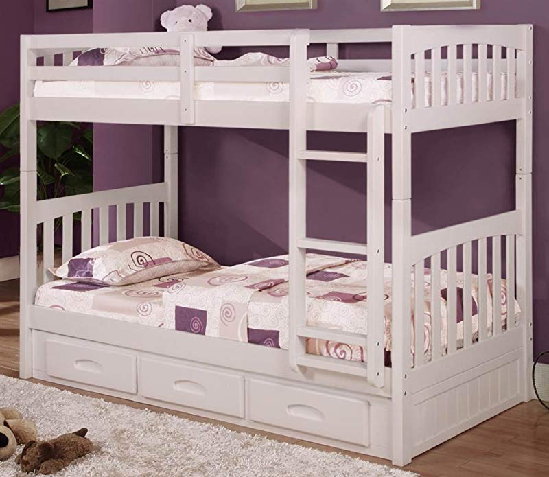 Donco Kids Twin Over Twin Mission Bunk Bed In White