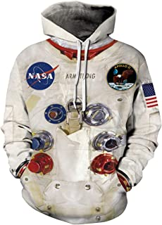Rainbow Town Unisex Funny Astronaut Space Suit Pattern Hoody Rockets Hooded Pullover with Big Pockets Cosplay Costume S-5XL