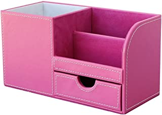 KINGFOM Wooden Struction Leather Multi-Function Desk Stationery Organizer Storage Box Pen/Pencil ,Cell Phone, Business Name Cards Remote Control Holder Pink-flannel