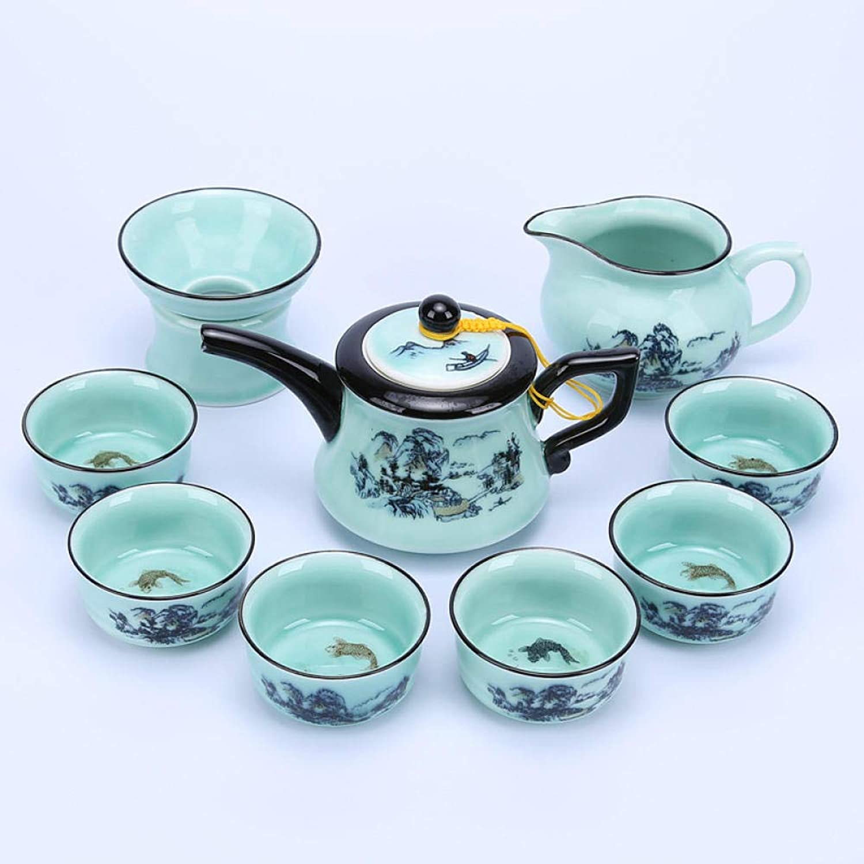 Service à thé Kung Fu en céramique avec pot à bec long et tasse à poisson Landscape