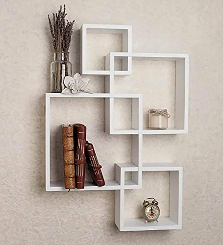 Furniture Cafe Wooden Intersecting Wall Mounted Shelf Floating Shelves Racks for Home Decor Living Room Hall Drawing Room Office Set of 4 MDF Colour White