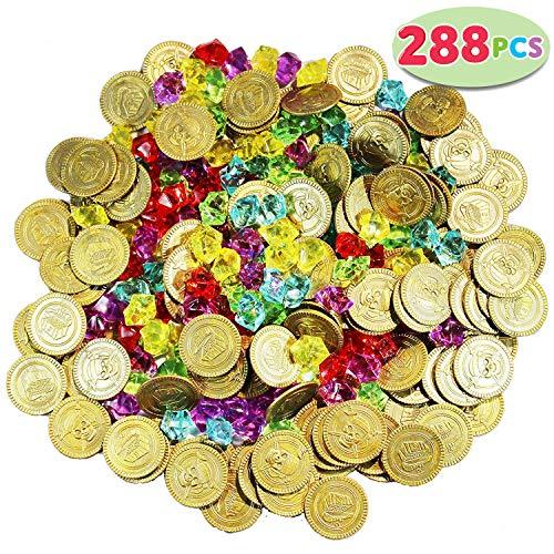 JOYIN 288 Stück Piraten Goldmünzen und Piraten Piratenschatz Halloween Spielzeug Set Party Mitbringsel (144 Goldmünzen +144 Edelsteine)