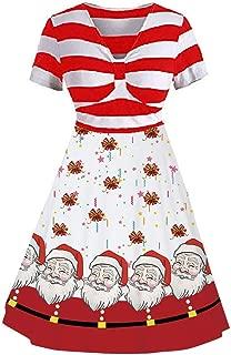 TWGONE Christmas Dresses for Women Vintage Stripe Snowman Floral Print Short Sleeve Party Dress