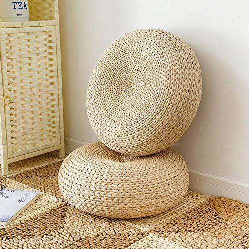 Minimew 2PCS Tatami Kissen Rund,45X15CM Bodenkissen Sitzkissen,Meditationskissen für Zuhause,Handcrafted Auflage gestrickter Sitz-Kissen Stroh für Zen, Yoga