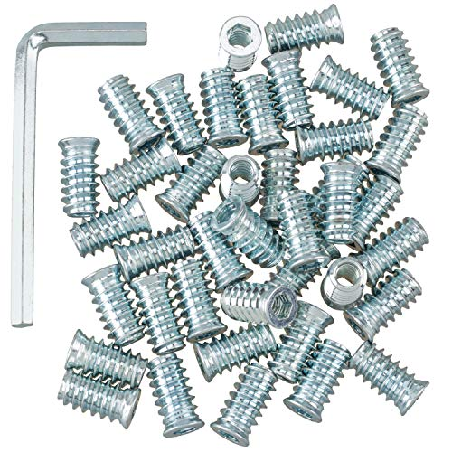 """OIIKI 40 Pack Threaded Insert Nutsert, 1/4""""-20 x 20mm Screw in Nut Threaded Wood Inserts, for Wood Furniture(with 1/4"""" Allen Wrench)"""
