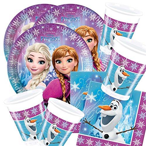 Disney 52-Teiliges Party-Set Frozen Eiskönign Nordlichter - Teller Becher Servietten für 16 Kinder