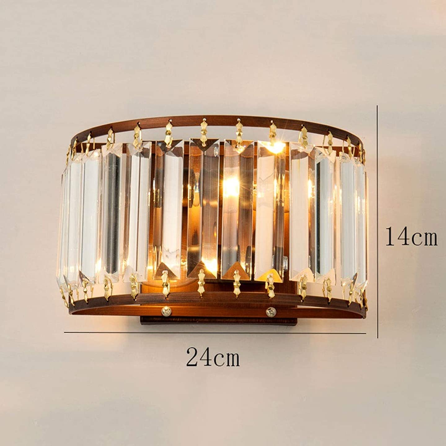 狭い適切に湿原装飾クリスタルウォールランプモダントリコロールランプE14ソケットリビングルーム/通路/ベッドルームベッドサイドランプ(ブラック/ブロンズ) (色 : ブロンズ, サイズ さいず : Three-tone light)