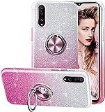 Funda para Samsung Galaxy A50/ A30S/ A50S, Gradiente Glitter Brillante Carcasa y Soporte Magnético de Anillo Protección 3-in-1 de Cubierta PC Dura Suave TPU Gel Anti-Choque Anti-arañazos Case - Rosa