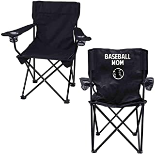 VictoryStore Outdoor Camping Chair - Baseball Mom Black Folding Camping Chair with Carry Bag