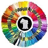 Pllieay 100 Madejas Bordado Hilos de Aleatorio Colores Algodón Bordado Kit con 12 Tablero Blanco de la Bobina para Costura, Punto de Cruz