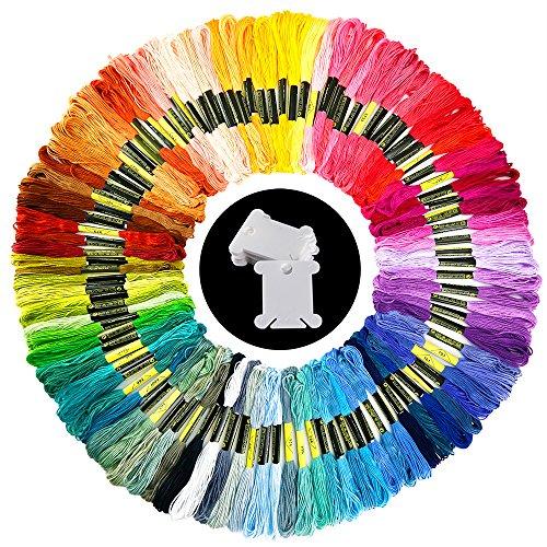 Pllieay 100 Colores Bordado Hilos de Aleatorio Colores Algodón Bordado Kit con 12 Tablero Blanco de la Bobina para Costura, Punto de Cruz