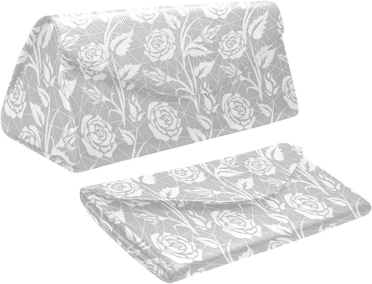 Glasses Case White Roses Gray Eyeglass Case Leather Magnetic Folding Hard Case Sunglasses Eyewear Protective Case