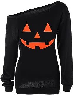 Women Halloween Pullover Tops Pumpkin Face Slouchy Off Shoulder Sweatshirts