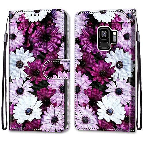 Nadoli Handyhülle Leder für Samsung Galaxy S9 Plus,Bunt Bemalt Elegant Gänseblümchen Trageschlaufe Kartenfach Magnet Ständer Schutzhülle Brieftasche Ledertasche Tasche Etui