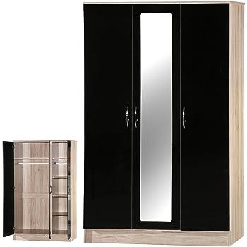 Armario con espejo de 3 puertas para dormitorio con alto brillo, madera, Black&sanremo Oak, 180.50x110x51.5 cm: Amazon.es: Hogar