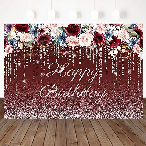Mocsicka Burgundy Red Floral Happy Birthday Backdrop Silver Glitter Women Birthday Background Rustic Watercolor Flowers Women Birthday Party Cake Table Decoration Photo Booth Props (7x5ft)