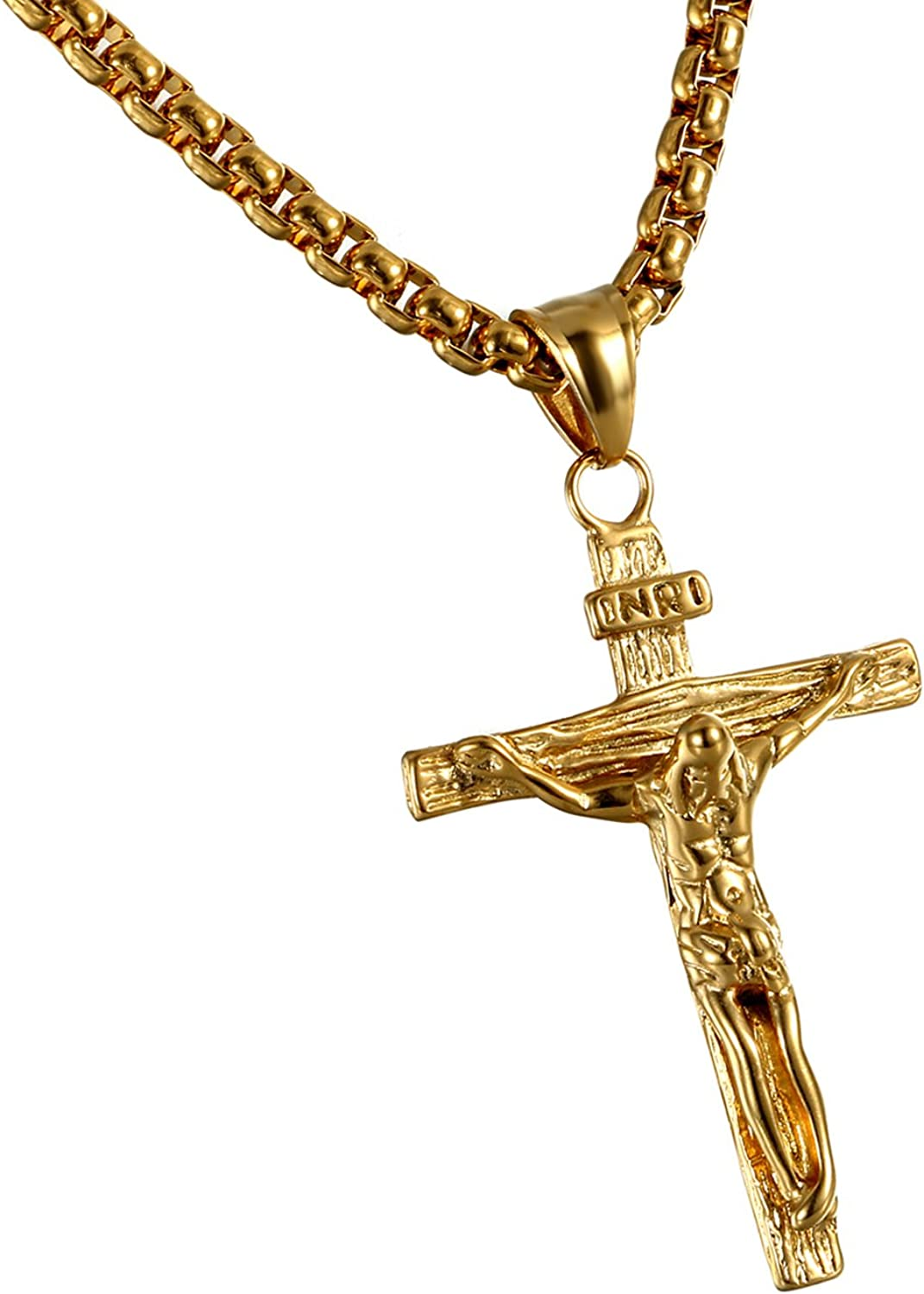 Cupimatch Mens Stainless Steel Jesus Christ Crucified Cross Pendant Necklace Chain Golden