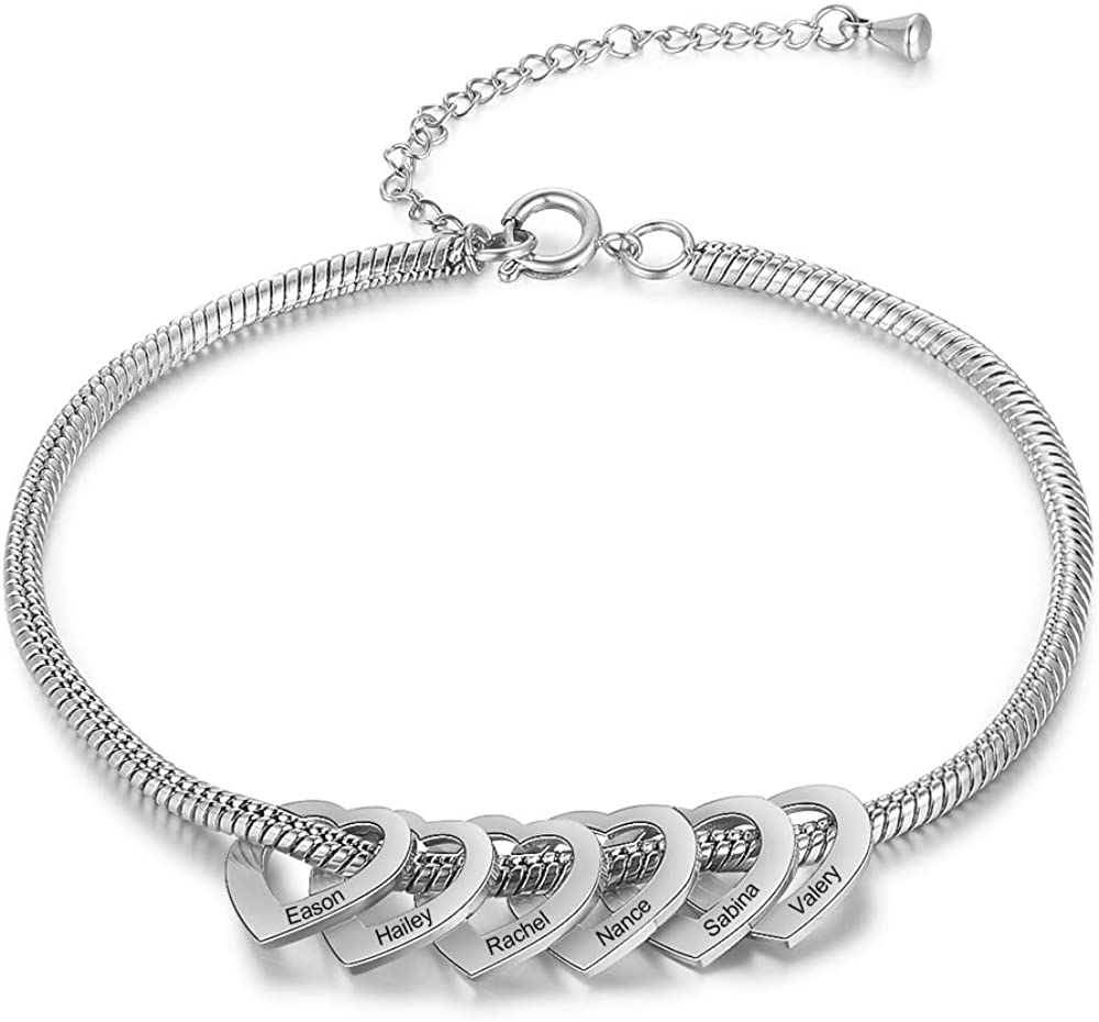 Kalulu Personalized Anklets for Women Custom Name Anklet with Heart Women's Anklets Engraving Stainless Steel Anklet Bracelet Charm Anklet for Teen Girls Anklet Length Adjustable for Mother Wife