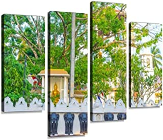 The Bodhi Tree of Bodhirajaramaya Temple in Negombo Canvas Wall Art Hanging Paintings Modern Artwork Abstract Picture Prints Home Decoration Gift Unique Designed Framed 4 Panel