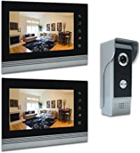 AMOCAM Video Intercom phone, Upgrade Aluminum Alloy/Acrylic Panel Wired Video Door Phone Doorbell Kits, Support Monitoring, Unlock, Dual-way Door Intercom, 7 Inches LCD 2PCS Monitor, 1 IR Camera