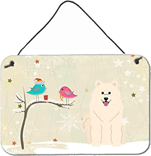 "Caroline's Treasures BB2502DS812 Christmas Presents Between Friends Samoyed Wall or Door Hanging Prints, 8"" x 12"", Multicolor"