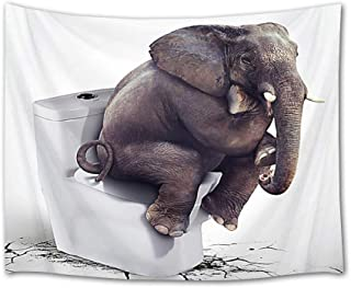 HVEST Elephant Tapestry Funny Elephant Sitting on Closestool Wall Hanging Decor Animal Tapestries Comical Picture Backdrop for Bedroom Room College Dorm,60Wx40H inches