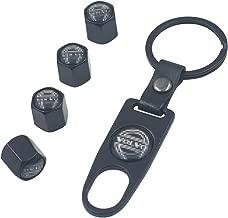 INCART Universal Steel (4pcs) Car Tire Valve Stem Air Caps Cover + (1pcs) Keychain for Volvo Black