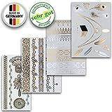 Tatuajes Temporales En Varios Diseños | Adhesivos Removibles Dorados Y Platas | Conjunto De 4 Hojas Con 34 Pegatinos – de Ahimsa Glow