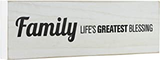 Mojo Blocks Wood Sign with Family Quote, Family - Life's Greatest Blessing (12 x 3.6 inch)