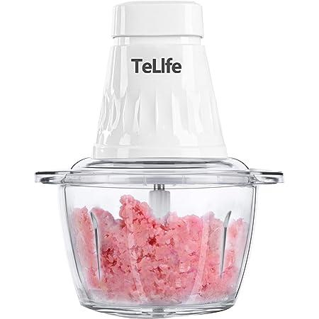 TeLife フードプロセッサー 1.2L大容量 軽量化ボトル 4枚刃 350Wフルパワー 調理時短 1台5役 お手入れ簡単 みじん切り (ホワイト)