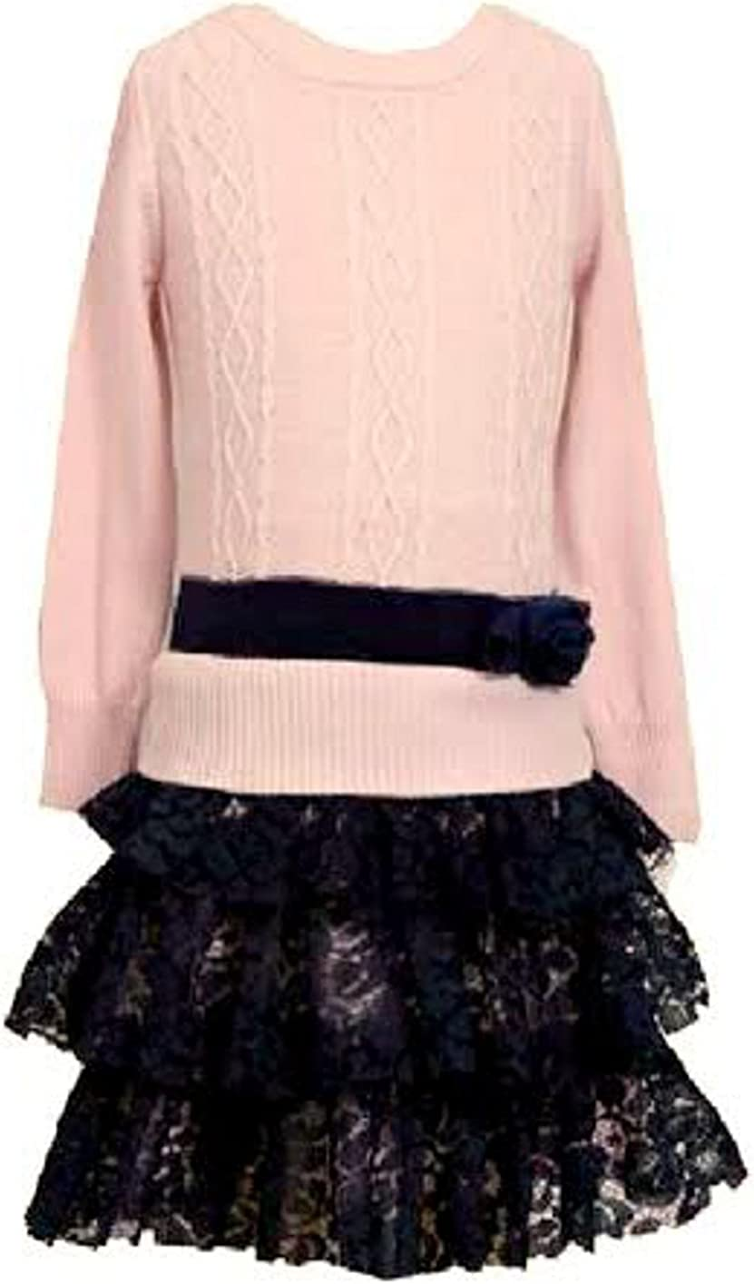 Pink Cable Lace Black Dress with Bracelet for Mom