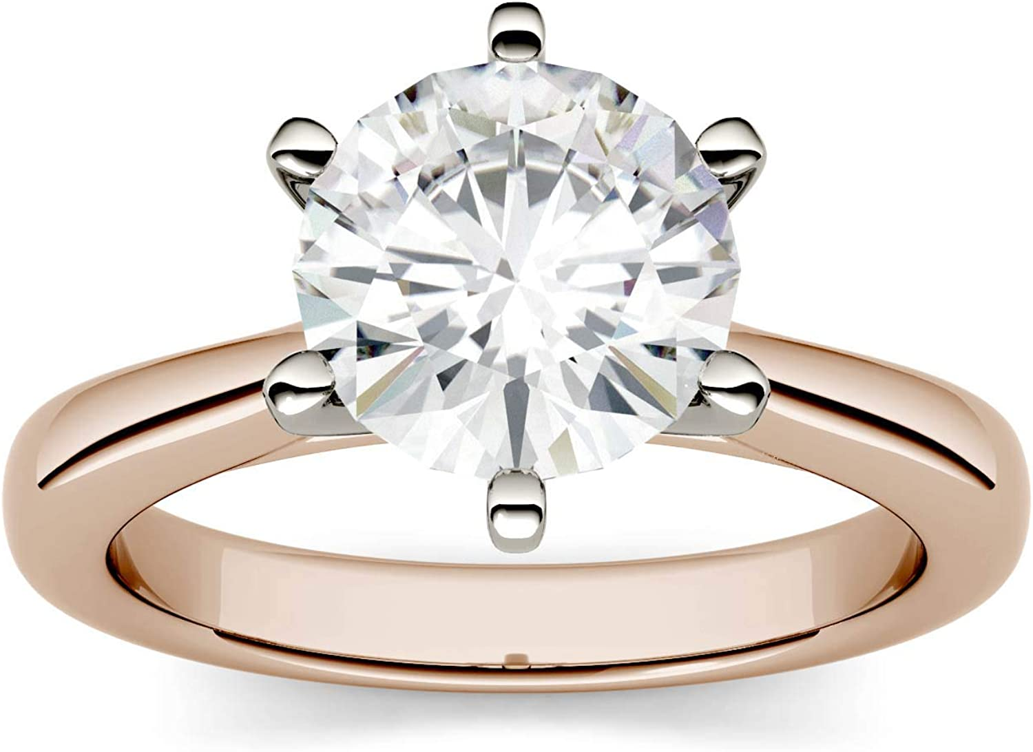 14K Rose Gold NEW before selling ☆ Moissanite by Round Colvard Max 65% OFF 8mm Engageme Charles