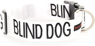 BLIND DOG White Color Coded Alert Warning S-M L-XL Buckle Dog Collars (No/Limited Sight) PREVENTS Accidents By Warning Others of Your Dog in Advance