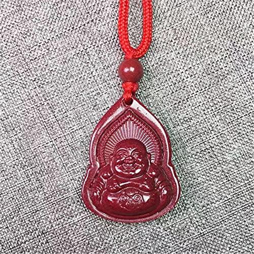 Toltec Lighting Feng Shui Riqueza Encanto Colgante Collar Natural cinabo Cristal Buddha guanyin Colgante Collar con cordón Trenzado Amuleto atrae la Suerte del Malvado espíritus,Buddha