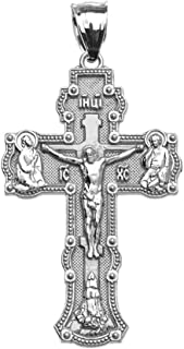 Religious Jewelry by FDJ Elegant Russian Orthodox Save and Protect Cross Pendant in Sterling Silver