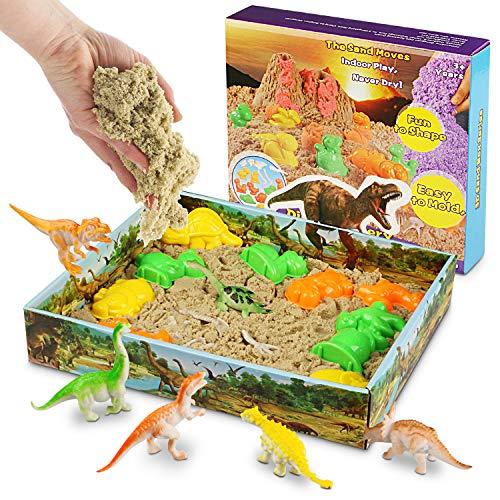 Magicfun 3D Sand Play Set, Beinhaltet 500g natürlichen Spielsand, 10 Dinosaurier Förmchen, 1 Beutel Dinosaurier Fossilien und 1 3D Sand-Tablett zum Formen von Figuren, Kinetischer Sand für Kinder