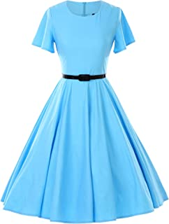GownTown 1950s Vintage Dresses Butterfly Sleeve Swing Stretchy Dresses